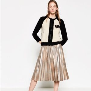 Zara Flesh Gold Metallic Accordion Pleated Skirt